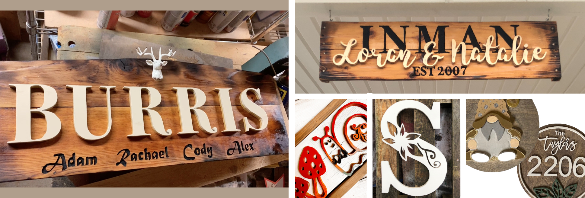 wood sign collage