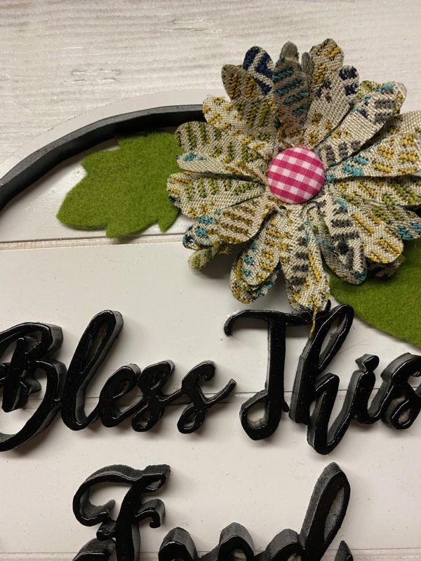 Bless This Food kitchen sign with flower