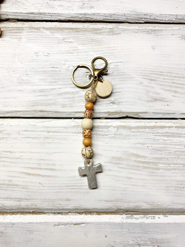 Boho cross keychain purse charm 3