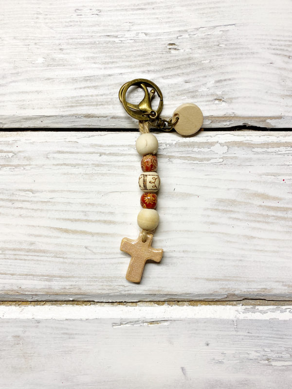 Boho cross keychain purse charm 4