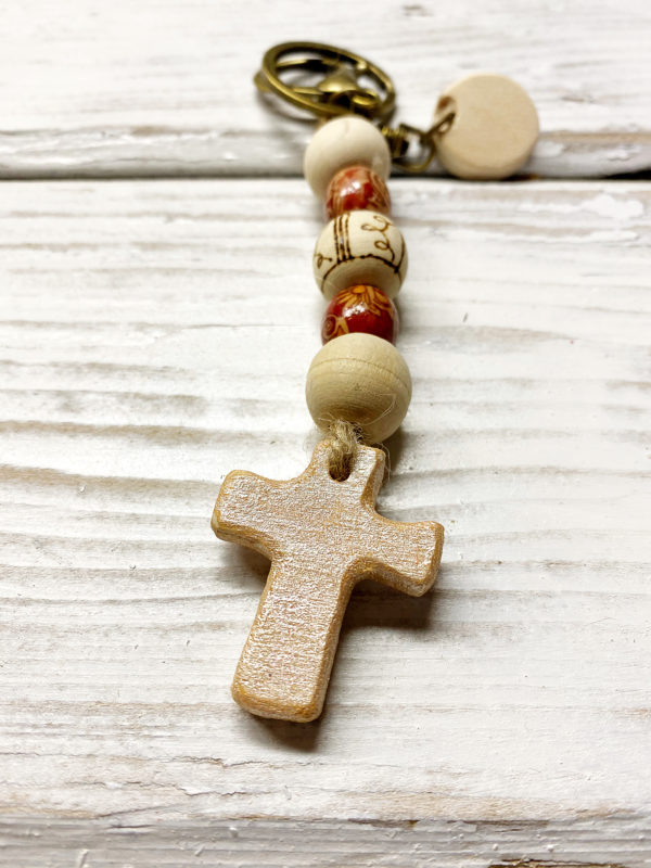 Boho cross keychain purse charm 4 rose gold cross