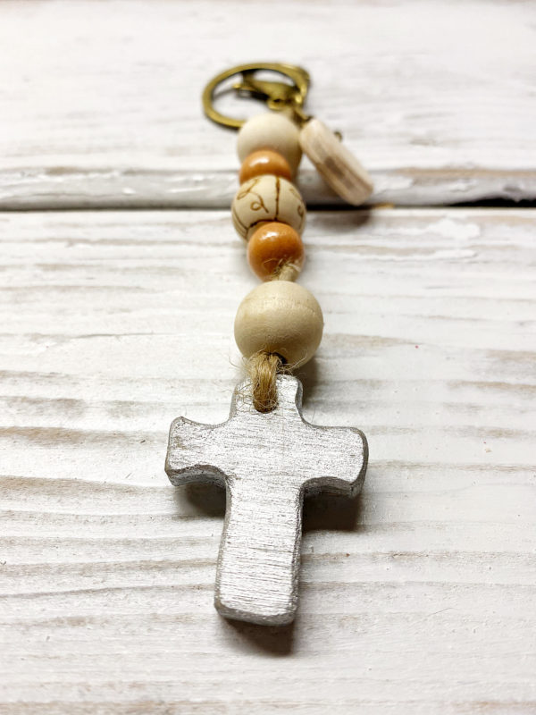 Boho cross keychain purse charm 5 silver cross