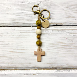 Boho cross keychain purse charm 6