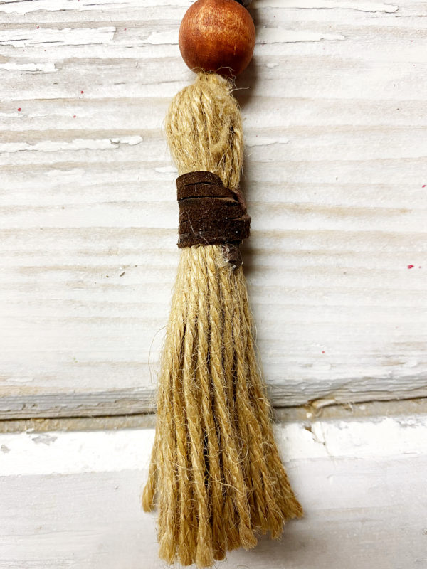 boho jute keychain chocolate wrapped tassel