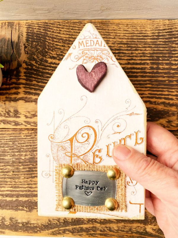 mini wood house with french ephemera paper and wooden heart